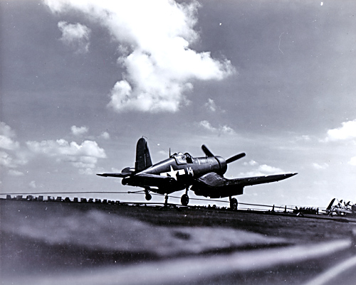 F4U Corsair Lands on USS Essex